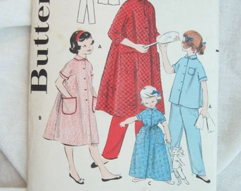 Butterick 7407 Girls Pajamas and Robe Vintage Sewing Pattern Size 6