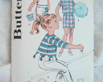 Butterick 9352 Girls Retro Sportswear Pullover Tops Vintage Sewing Pattern Size 6