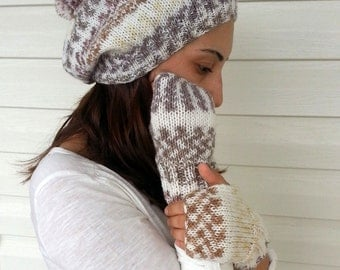 Hat And Glove Set, Knit Slouchy Hat, Fingerless Gloves, Mittens, Hand Knitted Hat, Slouchy Hat, Earth Colors, Brown, Pompom Hat