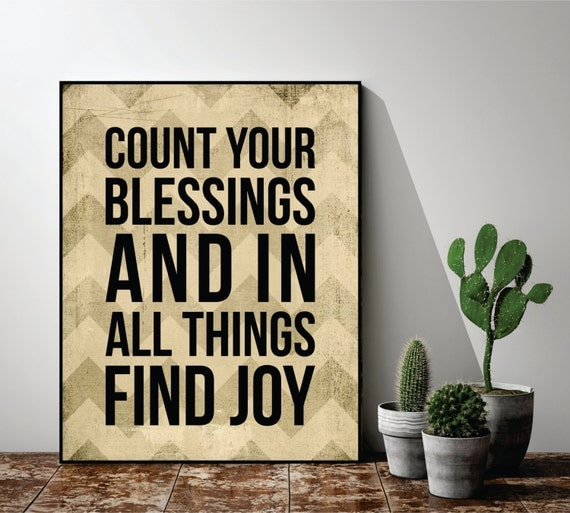 Count Your Blessings And In All Things Find Joy Printed Wood Sign Wall Decor 12x15