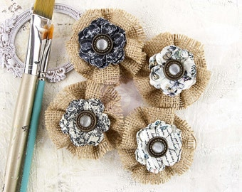 "NEW: Prima Epiphany ""Prophecy"" 578862 Neutral Burlap and Paper Flowers. Fascinator or Hat Design Appliques."