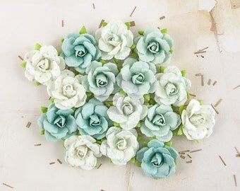 "NEW: Prima Melbourne ""Rain Forest"" 577506 Aqua Blue with varying patterns Petite Rose Bud Paper Flowers. Scrapbooking Embellishment Supplies"