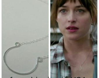sterling silver necklace 50 shades of grey anna anastasia steele horseshoe FREE SHIPPING