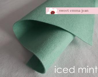 Wool Felt 1 yard cut - Iced Mint - minty green wool blend felt