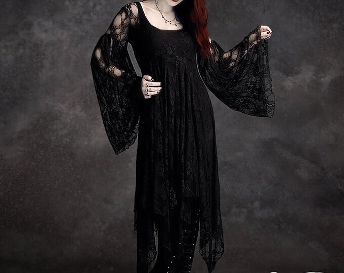 Phaedra Fairy Tale Romantic Wedding Dress in Lace - Handmade Dark Romantic Gothic Fairy Bridal Dress - Black, White, Ivory & Plus Size
