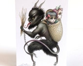Merry Krampus - signed 4 x 5.75 Mini Art Print - unframed