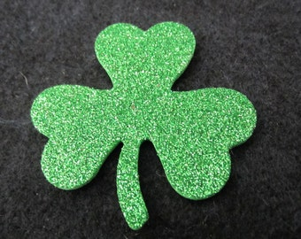 Glitter Foamy Green Shamrocks- Puffy Clovers-St. Patricks Day Decorations-Glitter Shamrock Embellishments-Irish Decor-DIY Kits