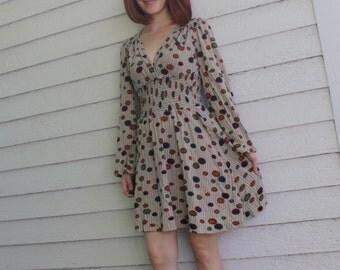 Vintage 70s Mini Dress Mod Print Rag Dolls S XS 1970s Casual