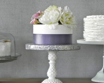 "RESERVED FOR Patty 8"" Cake Stand Milk Glass Silver Glitter Bling Wedding Holiday E. Isabella Designs Featured In Martha Stewart Weddings."