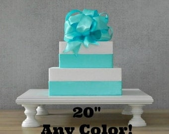 """20"""" ANY COLOR Cake Stand Square Wedding Rustic White Vintage Wedding Decor E. Isabella Designs. As Featured In Martha Stewart Weddings"""