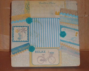 Adventure Fun in the Sun Vacation Decoupaged Picture Frame