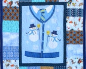 """Snowmen and Sweaters Quilt, 36"""" X 44"""""""