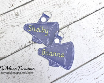 Personalized Cheer Bag Tag, Monogrammed, Custom Made, Vinyl, with Snap