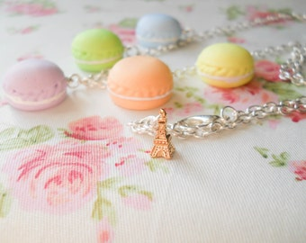 French Macaron Necklace, Macaroon, Macroon, Pastel Necklace, Food Necklace, Dessert, Eiffel Tower, Pretty, France, Food Jewelry