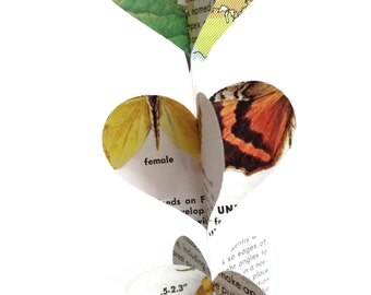 Butterflies and Moths - Mini Paper Heart Garland Decoration -  Repurposed Vintage Field Guide to Butterflies and Moths