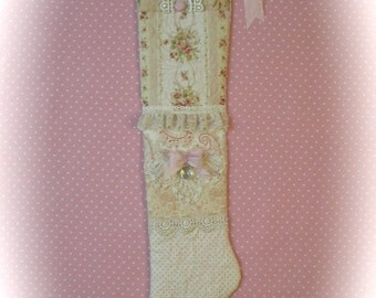 Baby's Girls !st Christmas Stocking Quilted Shabby Chic Pink Rose Patchwork