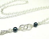 fashion ID Lanyard with Single Celtic Knot and Pearls-7 Color Choices