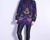 SALE 90s Abstract Purple Paisley Knit Mohair Sweater // sz S/M