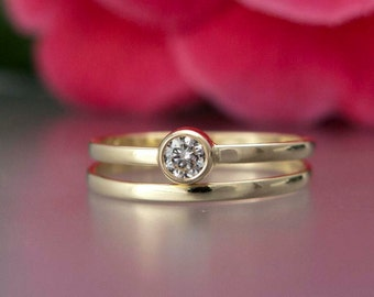 Diamond Alternative Wedding Ring Set - 3.5mm White Sapphire or Moissanite Engagement Ring and Matching Band in 14k white or yellow gold