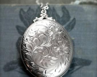 Birks Sterling Silver Locket Necklace, Vintage Hand Engraved Large Oval Pendant - Historical Adornment