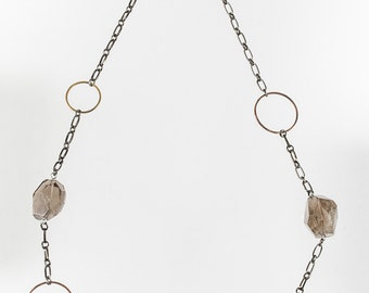 Smokey Quartz and Chain Necklace