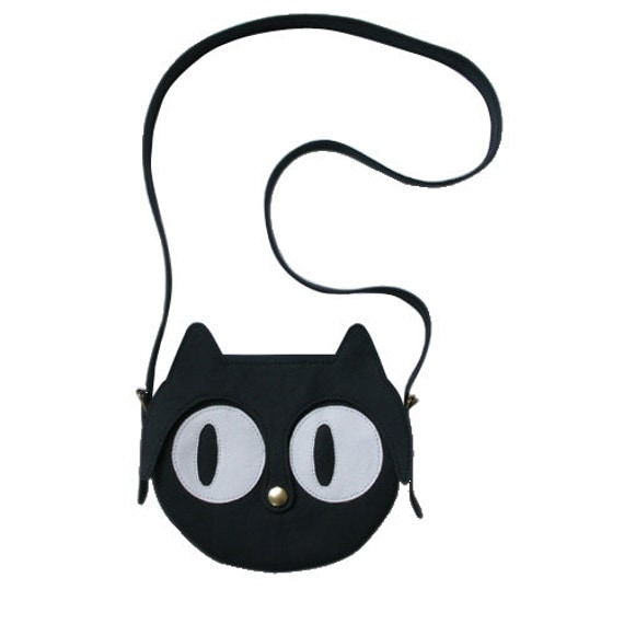 Leather Cat Bag, shoulder bag, animal bag, Cat Bag, leather bag, black leather bag