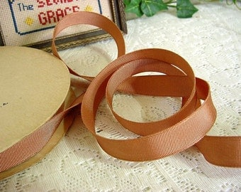 "Vintage NOS Caramel Brown Grosgrain Ribbon Trim - 5/8"" wide x 2 yards - more available"