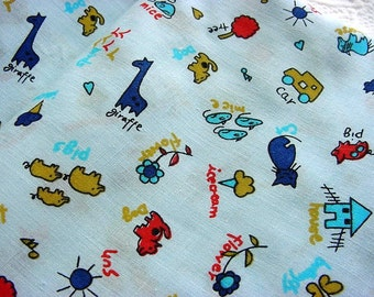 Whimsical Vintage Juvenile Boys Animal Fabric -Giraffes, Ice Cream Cones, Dogs, Cats, Elephants, Butterflies on Blue BTY