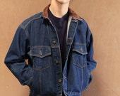 vintage men's DENIM jean jacket CONTRAST collar style field jacket