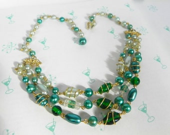 Vintage 50s Necklace - 1950s Green Glass Bead and Pearl Triple strand Wire Wrapped necklace - on sale