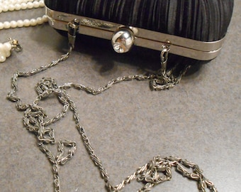 Black Formal Clutch, Rhinestone clasp, Chain strap, Shirred fabric Jacqueline Ferrar
