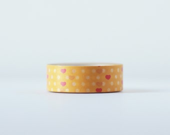 Tangerine Valentine Washi Tape-  Single Roll 15 mm x 10 m