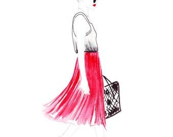 Watercolour fashion illustration Titled Strolling Through LA