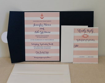 Nautical Stripe Wedding Invitation