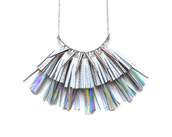 Holographic Statement Necklace, Tassel Necklace, Leather Tassel Jewelry, Silver Modern Necklace, Geometric Necklace, Leather Bib Necklace