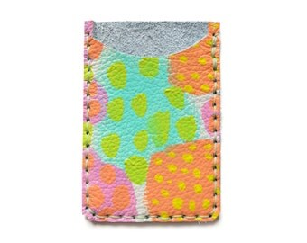 Leather Card Holder, Leather Wallet, Business Card Holder, Peach Mint Pink Wallet, Polka Dot Art Wallet, Modern Card Case, Minimal Wallet