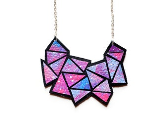 Galaxy Necklace, Space Necklace, Geometric Necklace, Ombre Jewelry, Painted Leather Necklace, Universe Necklace, Geometric Jewelry