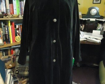 Vintage 1950's Black Velvet Car Coat