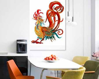 Rooster Art - Golden Swirly Heart Rooster - cocky, spirited, year of the rooster  8x12 print