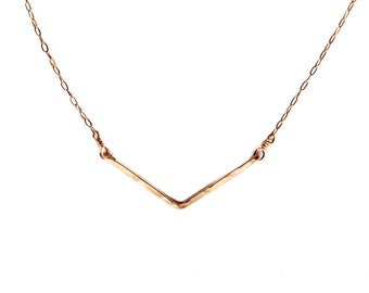 V Necklace - Gold Chevron Necklace - Wide V Shaped Pendant - Simple Delicate Everyday Necklace in Gold Fill, Rose Gold Fill, Sterling Silver