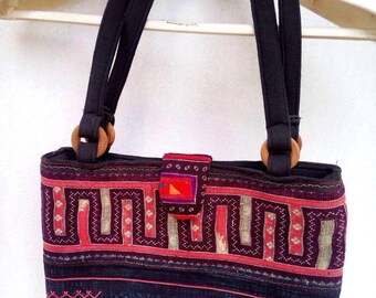 100 percent hemp bag Patchwork all natural Vintage Purple Red Blue