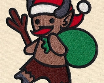 Too Cute Krampus (Christmas Devil), Embroidered Kitchen Towel or Quilt Block