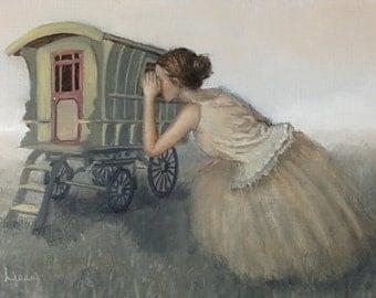 Peek. Signed Print of an Original Oil Painting