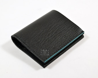 Black Leather Bi Fold Card Bill Wallet Handmade With Teal Accent.