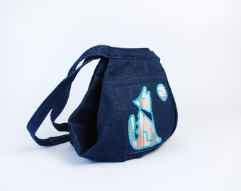 Denim Southwestern Coyote & Saguaro Purse || Cool Zipper Opening!
