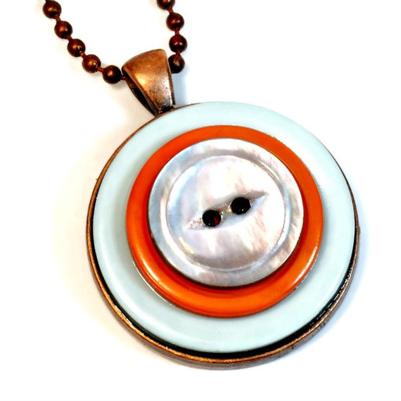 Upcycled Orange Button Necklace Pendant Repurposed Buttons