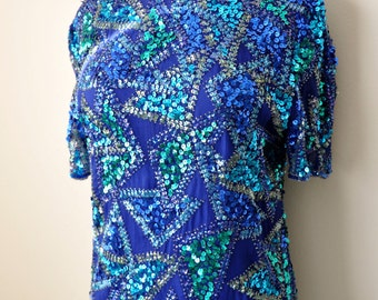 Vintage 80s Sequin Beaded Shades of Blue Blouse sz. S/M