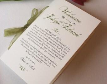 Wedding Programs, Welcome Wedding Booklet, Wedding Welcome Letter, Wedding Timeline, Moss Green Wedding Program Sample