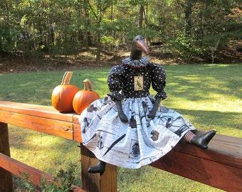 Crow, Halloween Crow, Raven, Poe, Crow Doll, Halloween Decor, Black, Orange, Black and White, Stars, Burgundy, White, Stripes