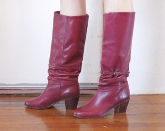 JUST PLUMMY...Vintage Burgundy 80's Boots,  Low Heel,  Leather, Size 8.5